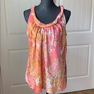 Talbots Pretty Floral Sleeveless Scoop Neck Blouse